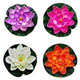 Happy Will 4 Pcs Floating Water Lily Lotus Foam Flower for Summer Pond Decor with Stylus