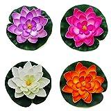 Easy Lifestyles Set of 4 Floating Pond Decor Water Lily / Lotus Foam Flower, Medium (Set of 4) (Medium(2.5