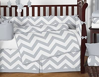 Gray and White Chevron ZigZag Gender Neutral Baby Bedding 9 Piece Boy or Girl Crib Set