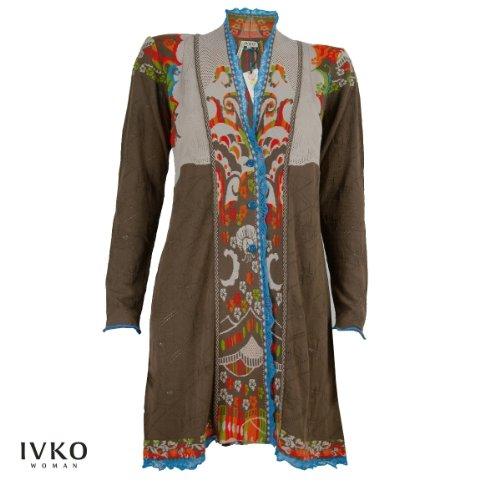 IVKO langer Strickmantel aus Viskose in floralem Jacquard in Braun Größe 38