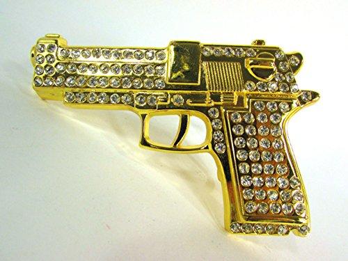 Gun Bling Gold Die Cut Belt Buckle.