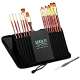 CHRISTMAS DEAL 62% OFF! Santa Fe Art Supply Best Quality Artist Paintbrush Set. Acrylic Oil Watercolor & Face Paint. 15 (+1) Professional Paint Brushes In Travel Case.