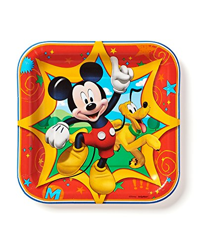"American Greetings Mickey Mouse Clubhouse 7"" Square Plate, 8 Count, Party Supplies Novelty - 1"