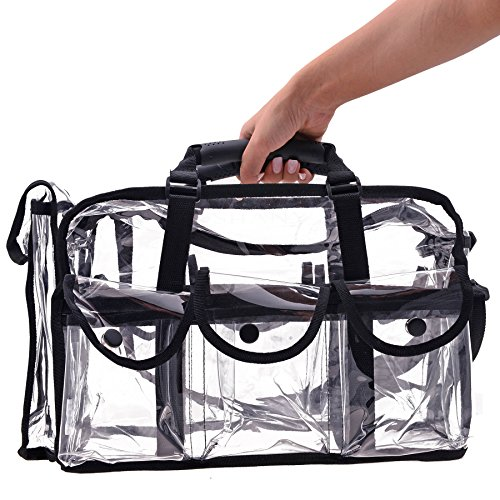 SHANY Cosmetics Clear Makeup Bag, Pro Mua Round Bag with Sho
