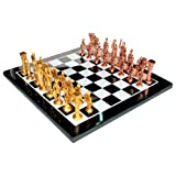 "15"" X 15"" Collectible Black Marble Chess Board Game Set + Brass Roman Pieces"
