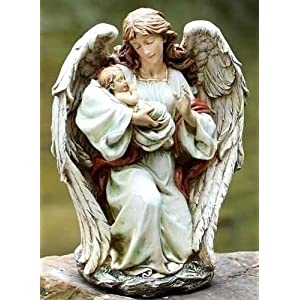 "Angel With Baby Figurine- Stone Resin - 17"" High"
