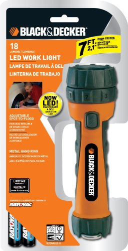 Black & Decker Bd2Aaled-B Led Rubber Work Light, 2 Aa Batteries Included