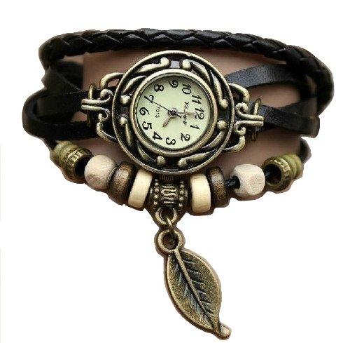 Noir Feuille Montre - Bracelet cuir - Weave Wrap Around- Quartz Mode Rétro - Montre de femmes de dames + Gratuit Poche Caisse