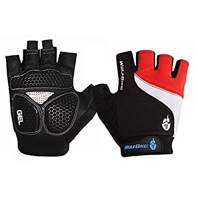 Wolfbike Mountain Bike Bicycle Cycling Fingerless Gloves 3D GEL Breathable Anti-slip Anti-shock Half Finger Gloves from Lixada