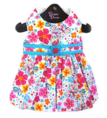 """Dog Dress- Hot Pink & Turquoise Fiesta Floral (Large- Chest 19-21"""")"""