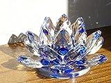 蓮の花 クリスタル ガラス 置物 インテリア ハス 風水 開運 ミニサイズ (ブルー)