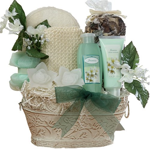 Jasmine Renewal Gift Basket Spa Bath and Body Gift Set - Medium