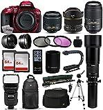 Nikon D5300 Red DSLR Digital Camera + 18-55mm VR II + 6.5mm Fisheye + 55-300mm VR + 650-2600mm Lens + Filters + 128GB Memory + Action Stabilizer + i-TTL Autofocus Flash + Backpack + Case + 70