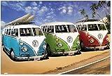 風景 ポスター フォルクスワーゲン ワーゲンバス フレンチバス キャルルック カリフォルニアキャンパー ビーチ サーフィン サーフボード リゾート 南国 海 砂浜 VW California Camper