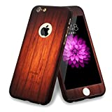 iPhone 6 Plus/6s Plus Full Body Hard Case-Aurora Black Front and Back Cover with Tempered Glass Screen Protector for iPhone 6 Plus/6s Plus 5.5 Inch (wood black)