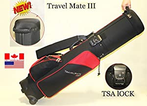 "Deluxe Golf Travel mate III CarryOn Rolling Golf cart Bag hard case With TSA Lock 9"" top Red/black color"