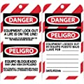 """NMC SPLOTAG15 """"DANGER - EQUIPMENT LOCK-OUT A LIFE IS ON THE LINE"""" Bilingual Lockout Tag, Unrippable Vinyl, 3"""" Length, 6"""" Height, Black/Red on White (Pack of 10)"""