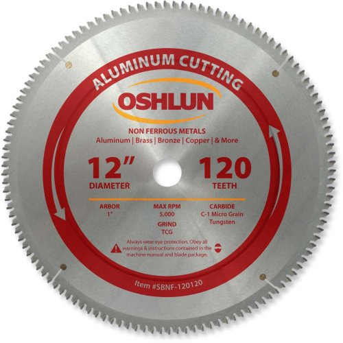 Oshlun SBNF-120120 12-Inch 120 Tooth TCG Saw Blade with 1-Inch Arbor for Aluminum and Non Ferrous Metals (12 Aluminum Blade compare prices)