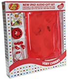 Jelly Belly Gift Pack with Clip-On Scented Gel Rubber iPad 3 Case Cover, Portable Mini Speaker and In-Ear Headphones - Very Cherry