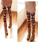 TPT Winter Women Xmas Snowflake Reindeer Knitted Tights Pants Warm Leggings Pants Colour