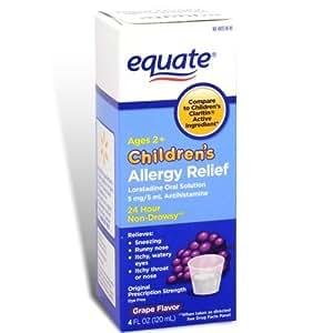 Equate - Children's Allergy Relief, Loratadine Oral Solution, Grape, 4 oz (Compare to Claritin)