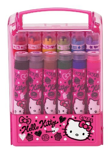 6 Color Markers With Regular Stamps And 6 Color Markers With Roller Stamps. - Squiggle Hello Kitty Write N Stamp Marker Set