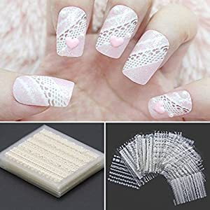 30 x Fleur Dentelle 3D Nail Art Sticker Autocollant Decoration Blanc