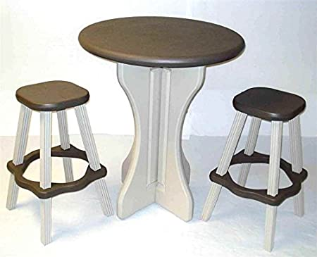 Leisure Accents Pub Set, 30-Inch Round with 2 Stools, Portabello/Beige