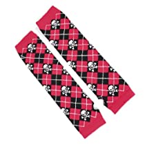 Allegra K Lady Fingerless White Skull Argyle Print Long Gloves Arm Warmers Black Red Pair
