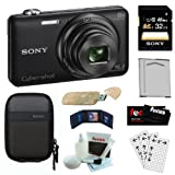 Sony Cyber-shot DSC-WX80 B Compact Zoom Digital Camera in Black + Sony 32GB SDHC Class 10 + Semi-Hard Camera Case + Replacement NP-BN1 Battery + USB Card Reader + Accessory Kit