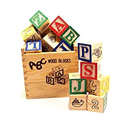 Smiles Creation Alphabet & Number Non-Toxic Wooden ABCD and 1234 Building Blocks (48 Wood Blocks)
