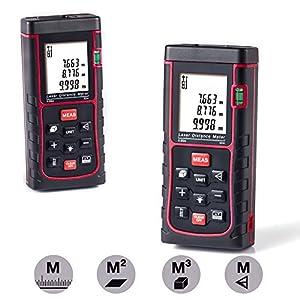 [Neue Version] GRDE® Laser Entfernungsmesser mit Distanz & Winkelmessung, Bereich & Volumenberechnung; Distanzmesser mit M/In/Ft (0.05 bis 60m)