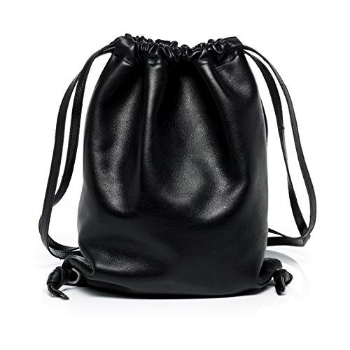 FEYNSINN Zaino NiK - borsa a spalla - borsa a zainetto (backpack) vera pelle nero (34 x 43 x 2 cm)