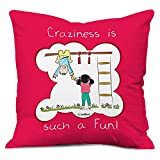 Rakhi Gift for Brother Sister Siblings Cousin Bhai Behan Childhood Crazy Fun Moments Memories Pink Printed 12x12 Cushion with Filler Quirky Bhaidooj Birthday Everyday Gifting