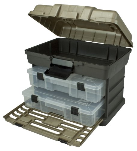 Plano Molding 1372-30 Stow N Go Tool Box with 2-Utility Organizers, Graphite Gray and SandStone