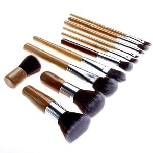Nsstar Professional Cosmetic Makeup Brush Set with Bag (Bamboo:11 PCS)