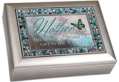 """""""Mother The Most Precious Gift In The World"""" Brushed Silver Finish Decorative Jewel Lid Musical Music Jewelry Box - Plays Wind Beneath My Wings"""