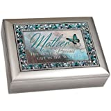 """Mother the Most Precious Gift in the World"" Brushed Silver Finish Decorative Jewel Lid Musical Music Jewelry Box - Plays Wind Beneath My Wings"