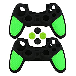 LZETC Silicone Sony PlayStation 4 Controller Skin, with Matching Thumb Grips, 2 Sets Black & Green