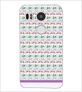 PrintDhaba I Love You Pattern D-1600 Back Case Cover for LG NEXUS 5X (Multi-Coloured)