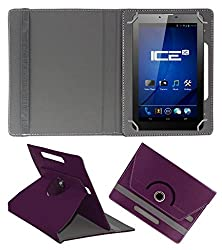 ACM ROTATING 360° LEATHER FLIP CASE FOR ICE SPECTRA PLUS + 3G TABLET STAND COVER HOLDER PURPLE