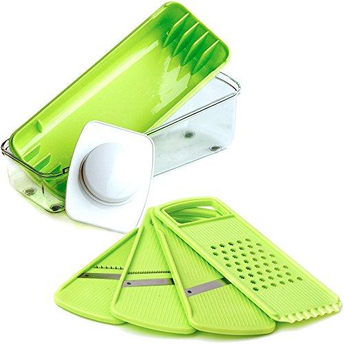 Mandoline Slicer - Food Slicer - Vegetable Slicer - Julienne Slicer - Premium Stainless Steel Blades - Food Safe Plastic - Compact, Lightweight & Versatile - Healthy Meals (Mandolin Slicer Set compare prices)