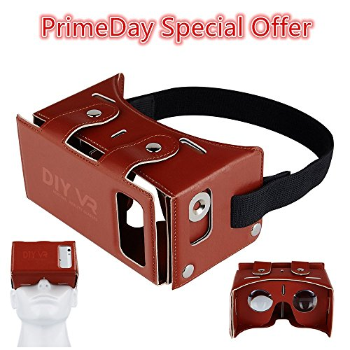 Mini DIY 3D VR Headset Coolzu 3D Virtual Reality Glasses Compatible with Android & Ios Combination VR for 4.0-5.5 Inch Screen Smartphone Video & Games Experience (Brown)