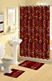 Home Dynamix Boutique Deluxe Shower Curtain and Bath Rug Set: BOU 10 Oval Rings Burgundy: 17 Piece Bath Set