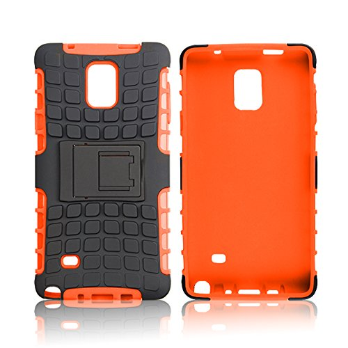 Note 4 Case, 2 in 1 Combo Full Body Protection Cover High Impact Shield Back Holster with Built-In Stand Hard Supper Fitted Skin for Samsung Galaxy Note 4 with 1x Stylus Pen + 1x Screen Protector -Orange