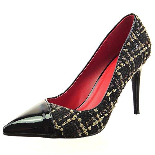 Sopily - Scarpe da Moda scarpe decollete stiletto bi-materiale alla caviglia donna lucide verniciato Tacco Stiletto tacco alto 9 CM - Nero FRF-8-07-10 T 37