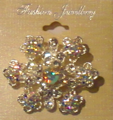 Sparkling Crystals Rhinestones Jades Genuine Antique Sterling Silver or Gold Plated Gita Christmas Star Brooch Pin