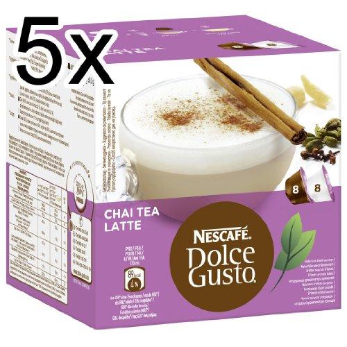Nescafé Dolce Gusto Chai Tea Latte, Pack of 5, 5 x 16 Capsules (40 Servings)