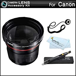 3.5x Telephoto Lens Kit For CANON VIXIA HF M52, HF M50, HF M500, HF M41, HF M40, HF M400 HD Camcorder Includes High Definition 3.5x Telephoto Lens + LensPen Cleaning Kit + Lens Cap Keeper + Microfiber Cleaning Cloth