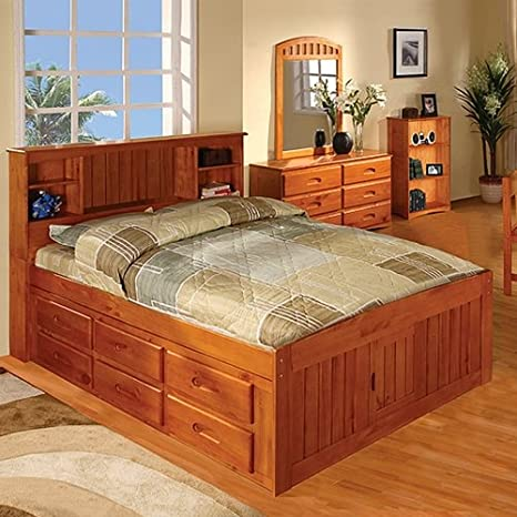Discovery World Furniture Honey Bookcase Captains Bed Full With 12 Drawer Storage (6 on EACH side)